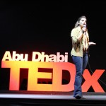Presenting the idea of poetry therapy on the TEDxAbuDhabi stage (Image by Farrukh Naeem)